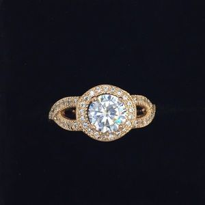 Jewelry - 18kt gold dipped Halo Pave Classic Forever Ring.